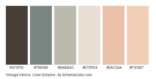 Vintage Venice - Color scheme palette thumbnail - #473F35 #788580 #BABBAC #E7DFD4 #EAC2AA #F1D0B7