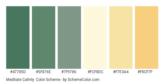 Meditate Calmly - Color scheme palette thumbnail - #47785d #5f876e #7f9786 #fcf8dc #f7e3a4 #f8cf7f