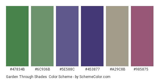 Garden Through Shades - Color scheme palette thumbnail - #47834b #6c936b #5e588c #453877 #a29c8b #985875