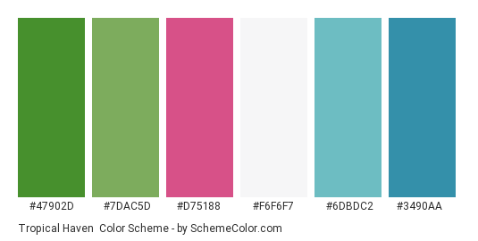 Tropical Haven - Color scheme palette thumbnail - #47902d #7dac5d #d75188 #f6f6f7 #6dbdc2 #3490aa
