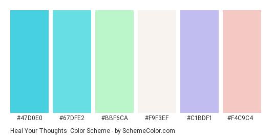 Heal Your Thoughts - Color scheme palette thumbnail - #47d0e0 #67dfe2 #bbf6ca #f9f3ef #c1bdf1 #f4c9c4