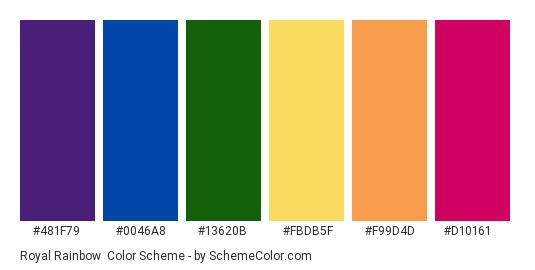 Royal Rainbow - Color scheme palette thumbnail - #481f79 #0046a8 #13620b #fbdb5f #f99d4d #d10161
