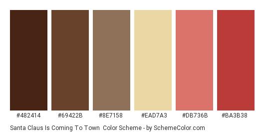Santa Claus is Coming to Town - Color scheme palette thumbnail - #482414 #69422b #8e7158 #ead7a3 #db736b #ba3b38