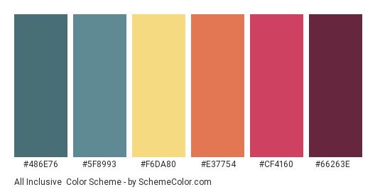 All Inclusive - Color scheme palette thumbnail - #486E76 #5F8993 #F6DA80 #E37754 #CF4160 #66263E