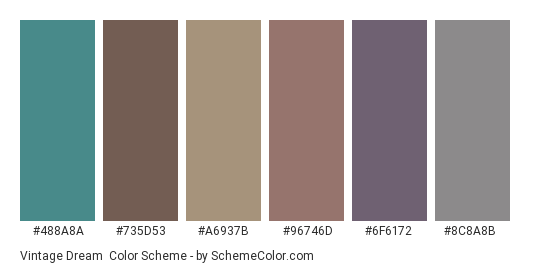 Vintage Dream - Color scheme palette thumbnail - #488a8a #735d53 #a6937b #96746d #6f6172 #8c8a8b
