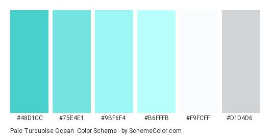 Pale Turquoise Ocean - Color scheme palette thumbnail - #48d1cc #75e4e1 #9bf6f4 #b6fffb #f9fcff #d1d4d6