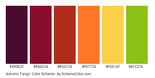 Autumn Tango - Color scheme palette thumbnail - #490b2f #880d2a #b02c1a #fd7726 #fdd147 #8cc216