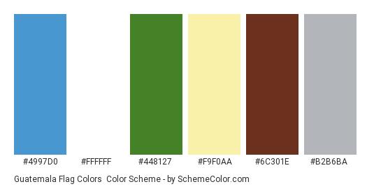 Guatemala Flag Colors - Color scheme palette thumbnail - #4997d0 #ffffff #448127 #f9f0aa #6c301e #b2b6ba