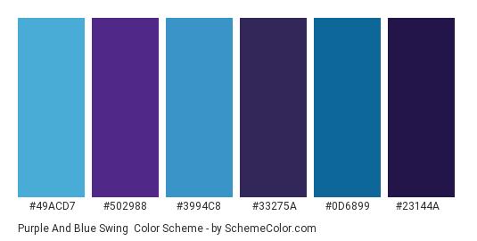 Purple and Blue Swing - Color scheme palette thumbnail - #49acd7 #502988 #3994c8 #33275a #0d6899 #23144a