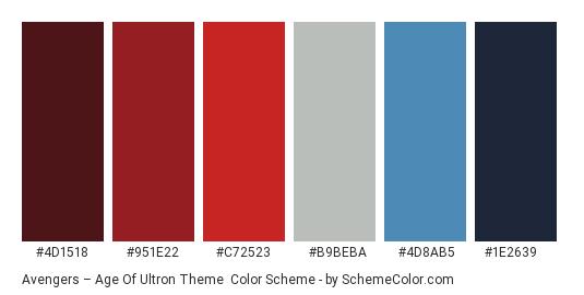 Avengers – Age of Ultron Theme - Color scheme palette thumbnail - #4D1518 #951E22 #C72523 #B9BEBA #4D8AB5 #1E2639
