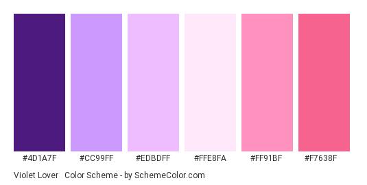 Violet Lover #2 - Color scheme palette thumbnail - #4D1A7F #CC99FF #EDBDFF #FFE8FA #FF91BF #F7638F