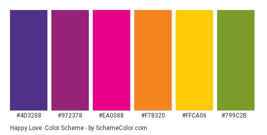 Happy Love - Color scheme palette thumbnail - #4D3288 #972378 #EA0088 #F78320 #FFCA06 #799C2B