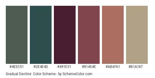 Gradual Decline - Color scheme palette thumbnail - #4E5C51 #2E4E4D #491E31 #81454E #AB6F61 #B1A187