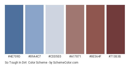 So Tough in Dirt - Color scheme palette thumbnail - #4E709D #89A4C7 #CDD5E0 #A17871 #8E564F #713B3B