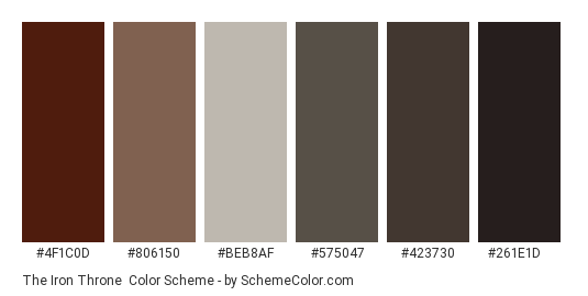 The Iron Throne - Color scheme palette thumbnail - #4F1C0D #806150 #BEB8AF #575047 #423730 #261E1D