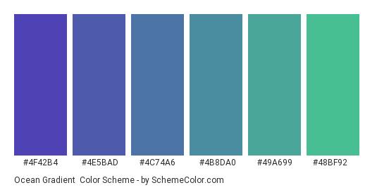 Ocean Gradient - Color scheme palette thumbnail - #4F42B4 #4E5BAD #4C74A6 #4B8DA0 #49A699 #48BF92