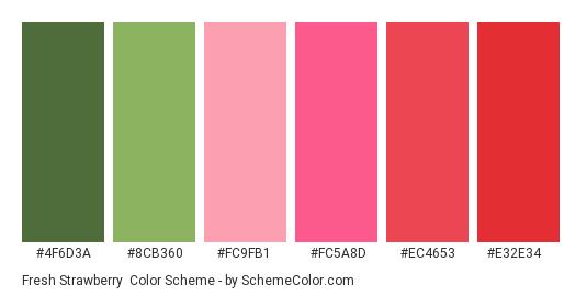 Fresh Strawberry - Color scheme palette thumbnail - #4F6D3A #8CB360 #FC9FB1 #FC5A8D #EC4653 #E32E34