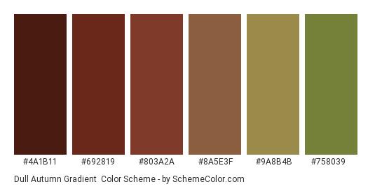 Dull Autumn Gradient - Color scheme palette thumbnail - #4a1b11 #692819 #803a2a #8a5e3f #9a8b4b #758039