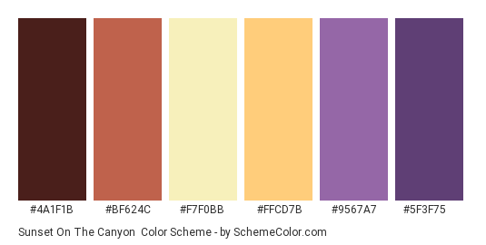 Sunset on the Canyon - Color scheme palette thumbnail - #4a1f1b #bf624c #f7f0bb #ffcd7b #9567a7 #5f3f75