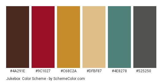 Jukebox - Color scheme palette thumbnail - #4a291e #9c1027 #c68c2a #dfbf87 #4e8278 #525250