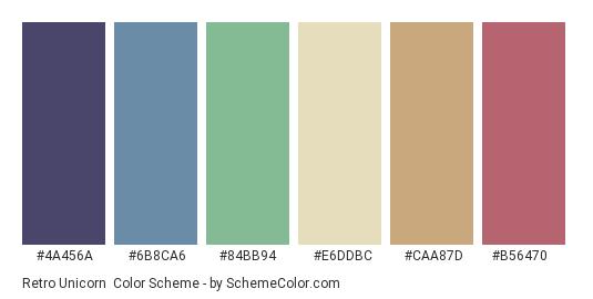 Retro Unicorn - Color scheme palette thumbnail - #4a456a #6b8ca6 #84bb94 #e6ddbc #caa87d #b56470