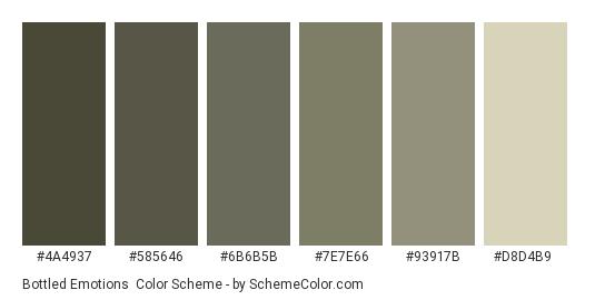 Bottled Emotions - Color scheme palette thumbnail - #4a4937 #585646 #6b6b5b #7e7e66 #93917b #d8d4b9