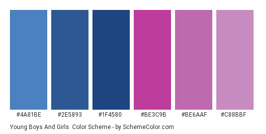 Young Boys And Girls - Color scheme palette thumbnail - #4a81be #2e5893 #1f4580 #be3c9b #be6aaf #c88bbf