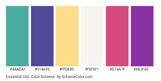 Essential Oils - Color scheme palette thumbnail - #4aaba1 #514a99 #ffde85 #f8f5f1 #d74a7f #8b2fa5