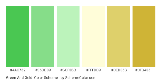 Green and Gold - Color scheme palette thumbnail - #4ac752 #86dd89 #bcf3bb #fffdd9 #ded06b #cfb436