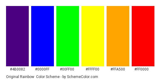 Original Rainbow - Color scheme palette thumbnail - #4b0082 #0000ff #00ff00 #ffff00 #ffa500 #ff0000