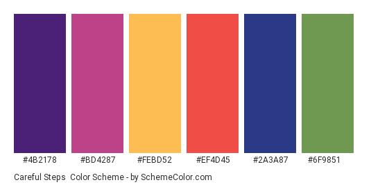 Careful Steps - Color scheme palette thumbnail - #4b2178 #bd4287 #febd52 #ef4d45 #2a3a87 #6f9851