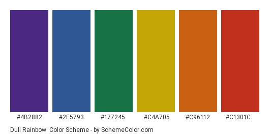 Dull Rainbow - Color scheme palette thumbnail - #4b2882 #2e5793 #177245 #c4a705 #c96112 #c1301c