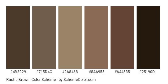 Rustic Brown - Color scheme palette thumbnail - #4b3929 #715d4c #9a8468 #8a6955 #644535 #25190d