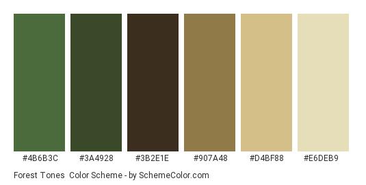 Forest Tones Color Scheme Palette Thumbnail 4b6b3c 3a4928 3b2e1e 907a48