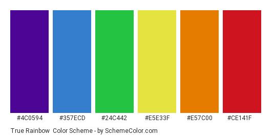 True Rainbow - Color scheme palette thumbnail - #4c0594 #357ecd #24c442 #e5e33f #e57c00 #ce141f