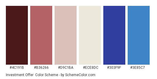 Investment Offer - Color scheme palette thumbnail - #4c191b #b36266 #d9c1ba #ece8dc #303f9f #3e85c7