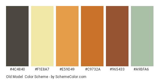 Old Model - Color scheme palette thumbnail - #4c4840 #f1e8a7 #e59d49 #c9732a #965433 #a9bfa6