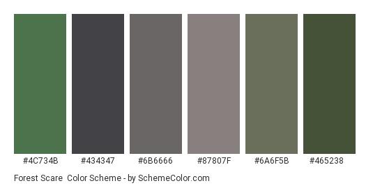 Forest Scare - Color scheme palette thumbnail - #4c734b #434347 #6b6666 #87807f #6a6f5b #465238