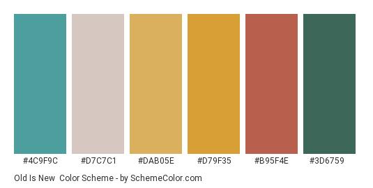 Old is New - Color scheme palette thumbnail - #4c9f9c #d7c7c1 #dab05e #d79f35 #b95f4e #3d6759