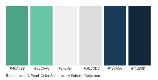 Reflection in a Pond - Color scheme palette thumbnail - #4ca488 #66c6a6 #efefef #dcdcdc #183a56 #11293d