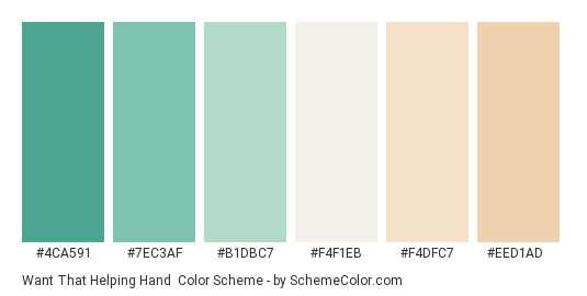 Want That Helping Hand - Color scheme palette thumbnail - #4ca591 #7ec3af #b1dbc7 #f4f1eb #f4dfc7 #eed1ad