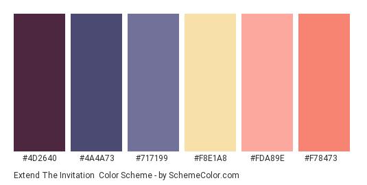 Extend the Invitation - Color scheme palette thumbnail - #4d2640 #4a4a73 #717199 #f8e1a8 #fda89e #f78473