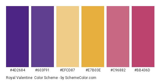 Royal Valentine - Color scheme palette thumbnail - #4d2684 #603f91 #efcd87 #e7b03e #c96882 #bb436d