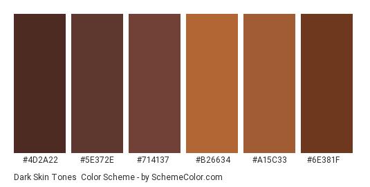 Dark Skin Tones - Color scheme palette thumbnail - #4d2a22 #5e372e #714137 #b26634 #a15c33 #6e381f