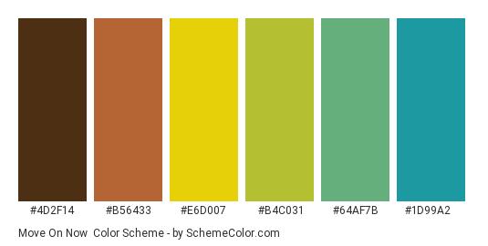 Move on Now - Color scheme palette thumbnail - #4d2f14 #b56433 #e6d007 #b4c031 #64af7b #1d99a2