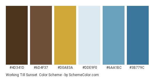 Working Till Sunset - Color scheme palette thumbnail - #4d341d #6d4f37 #d0a83a #dde9f0 #6aa1bc #3b779c