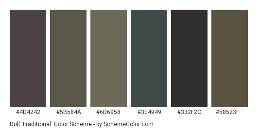 Dull Traditional - Color scheme palette thumbnail - #4d4242 #5b584a #6d6958 #3e4949 #332f2c #58523f