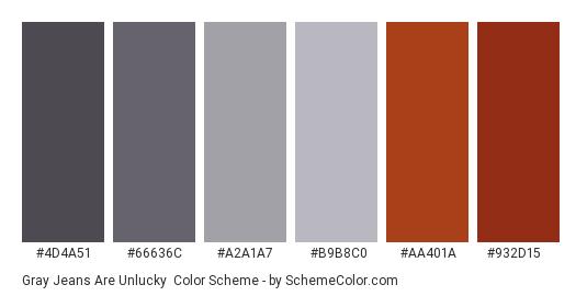 Gray Jeans are Unlucky - Color scheme palette thumbnail - #4d4a51 #66636c #a2a1a7 #b9b8c0 #aa401a #932d15