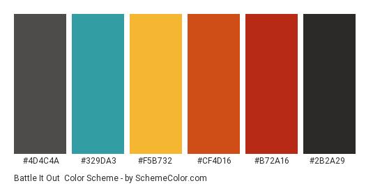 Battle it Out - Color scheme palette thumbnail - #4d4c4a #329da3 #f5b732 #cf4d16 #b72a16 #2b2a29