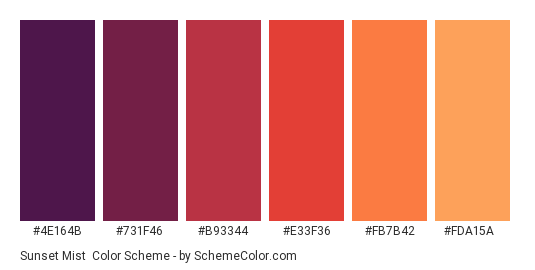 Sunset Mist - Color scheme palette thumbnail - #4e164b #731f46 #b93344 #e33f36 #fb7b42 #fda15a